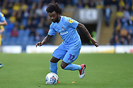 Coventry City defender Junior Brown (12) sprints forward with the ball during the EFL Sky Bet League 1 match between Oxford United and Coventry City at the Kassam Stadium, Oxford, England on 9 September 2018.
