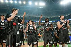 Partizan players celebrating victory after final match of Basketball NLB League at Final Four tournament between KK Union Olimpija (SLO) and Partizan Belgrade (SRB), on April 21, 2011 at SRC Stozice, Ljubljana, Slovenia. (Photo By Matic Klansek Velej / Sportida.com)