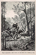 They Perceived a Man lying at the foot of a Tree from the book ' Mistress Branican ' by Jules Verne, illustrated by Leon Benett. The story begins in the United States, where the heroine, Mistress Branican, suffers a mental breakdown after the death by drowning of her young son. On recovering, she learns that her husband, Captain Branican, has been reported lost at sea. Having acquired a fortune, she is able to launch an expedition to search for her husband, who she is convinced is still alive. She leads the expedition herself and trail leads her into the Australian hinterland. Mistress Branican (French: Mistress Branican, 1891) is an adventure novel written by Jules Verne and based on Colonel Peter Egerton Warburton and Ernest Giles accounts of their journeys across the Western Australian deserts, and inspired by the search launched by Lady Franklin when her husband Sir John Franklin was reported lost in the Northwest Passage. Translated by A. Estoclet, Published in New York, Cassell Pub. Co. 1891.