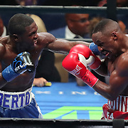 Andre Berto lands a left to the face of Devon Alexander during a Premier Boxing Champions fight on Saturday, August 4, 2018 at the Nassau Veterans Memorial Coliseum in Uniondale, New York.  (Alex Menendez via AP)