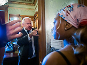 12 JUNE 2020 - DES MOINES, IOWA: A member of the Governor's security team lets Black Lives Matter protesters into the Governor's Reception Room in the Iowa State Capitol. About 75 activists from Black Lives Matter came to the Iowa State Capitol in Des Moines Friday to talk to Iowa Governor Kim Reynolds. They've been trying to meet with Gov. Reynolds all week. She made time for them Friday and met with 5 representatives of the organization without any media in the room. They wanted to talk to her about police violence against African-Americans and racial disparities in Iowa's justice system. While the 5 met with the Governor, the remaining activists picketed the hall in front of her office and chanted.     PHOTO BY JACK KURTZ