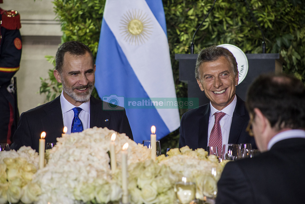 March 25, 2019 - Buenos Aires, Federal Capital, Argentina - The kings of Spain, Felipe VI and Letizia Ortiz, arrived on Sunday night, March 24, in Buenos Aires as part of the State visit to Argentina..According to the predicted, the official activities of the monarchs began this Monday, March 25, with a bulky agenda of activities..In the morning they met at Casa Rosada with President Mauricio Macri and the First Lady, Juliana Awada..The kings arrived at the government headquarters around 11 in the morning and after taking the official photo in the White Room, Macri and Felipe VI gave a message before entering the presidential office for their personal meeting, which will also be attended by Awada and the Queen Letizia. After the private lunch at the Residencia de Olivos, at night the Kings were entertained with an Honor dinner offered by President Macri, which was held in the Gallery of the Hall of the Shields of the CCK (Kirchner Cultural Center), where the King Felipe VI and Reina Letizia greeted the different invited personalities. (Credit Image: ©  Roberto Almeida Aveledo/ZUMA Wire)
