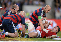 5 June 2013; Cian Healy, British & Irish Lions, is treated for an injury which forced him to leave the game. British & Irish Lions Tour 2013, Western Force v British & Irish Lions, Patterson's Stadium, Perth, Australia. Picture credit: Stephen McCarthy / SPORTSFILE
