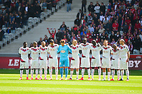 Groupe Bordeaux - une minute de silence pour Chloe - 19.04.2015 - Lille / Bordeaux - 33eme journee de Ligue 1<br />