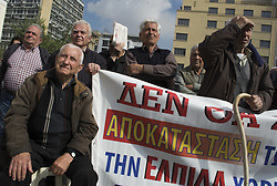 April 4, 2017 - Athens, Greece - Elderly people protest and shout slogans against the government. Pensioners' unions staged a demonstration to protest over further pension cuts. (Credit Image: © Nikolas Georgiou via ZUMA Wire)