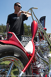 Invited Builder Hawke Lawshe with his custom 1946 Harley-Davidson Knucklehead at theBorn Free chopper show. Silverado, CA. USA. Saturday June 23, 2018. Photography ©2018 Michael Lichter.Born Free chopper show. Silverado, CA. USA. Saturday June 23, 2018. Photography ©2018 Michael Lichter.
