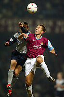 Photo: Scott Heavey.<br />West Ham V Crewe. Nationwide First Division. 17/03/2004.<br />John Harley (R) beats Kenny Lunt in the air
