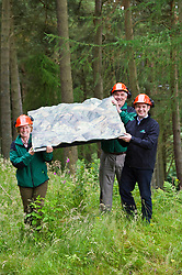 Pictured: Alan Stevenson, Foresty Enterprise Scotland, Andrew Brook, Forest Holidays (Black jacket) and Sallie Baillie, District manager Foresty Enterprise Scotland<br />  Forest Enterprise Scotland and Forest Holidays are set to join forces with proposals for the area, which could see luxury eco-cabins and new biking trails built following a multimillion-pound investment.<br /> Ger Harley | EEm 21 July  2017