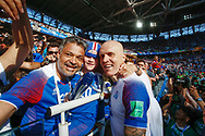 Emil Hallfredsson of Iceland celebrates with his family after the 2018 FIFA World Cup Russia, Group D football match between Argentina and Iceland on June 16, 2018 at Spartak Stadium in Moscow, Russia - Photo Thiago Bernardes / FramePhoto / ProSportsImages / DPPI
