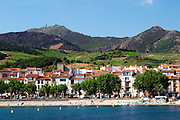 Collioure. Roussillon. The beach and the village. France. Europe. Vineyard. Mountains in the background.