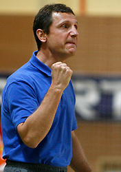 Coach of Trimo Trebnje Marko Sibila at  handball game between RD Knauf Insulation and RK Trimo Trebnje, on September 22, 2008, in Arena Poden, Skofja Loka, Slovenija. (Photo by Vid Ponikvar / Sportal Images)