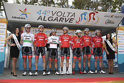February 14, 2018 - Lagos, Portugal - Trek-Segafredo before the 1st stage of the cycling Tour of Algarve between Albufeira and Lagos, on February 14, 2018. (Credit Image: © Str/NurPhoto via ZUMA Press)