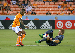 May 25, 2018 - Houston, TX, U.S. - HOUSTON, TX - MAY 25:  New York City defender Anton Tinnerholm (3) traps the ball and keeps it from Houston Dynamo forward Romell Quioto (31) during the MLS match between the New York FC and Houston Dynamo on May 25, 2018 at BBVA Compass Stadium in Houston, Texas.  (Photo by Leslie Plaza Johnson/Icon Sportswire) (Credit Image: © Leslie Plaza Johnson/Icon SMI via ZUMA Press)