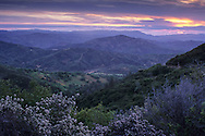 Stormy sunrise over rugged hills of the Diablo Range near Mount Hamilton, Santa Clara County, California