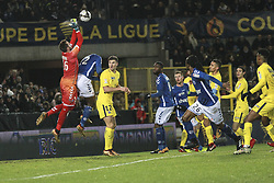 December 13, 2017 - Strasbourg, France - Strasbourg's French goalkeeper Alexandre Oukidja with Paris Saint-Germain's Belgian defender Thomas Meunier  #12  of PSG during the french League Cup match, Round of 16, between Strasbourg and Paris Saint Germain on December 13, 2017 in Strasbourg, France. (Credit Image: © Elyxandro Cegarra/NurPhoto via ZUMA Press)
