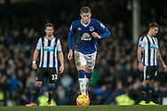 Ross Barkley (Everton) about to take the penalty to make it 3-0 to Everton with the last kick of the Barclays Premier League match between Everton and Newcastle United at Goodison Park, Liverpool, England on 3 February 2016. Photo by Mark P Doherty.