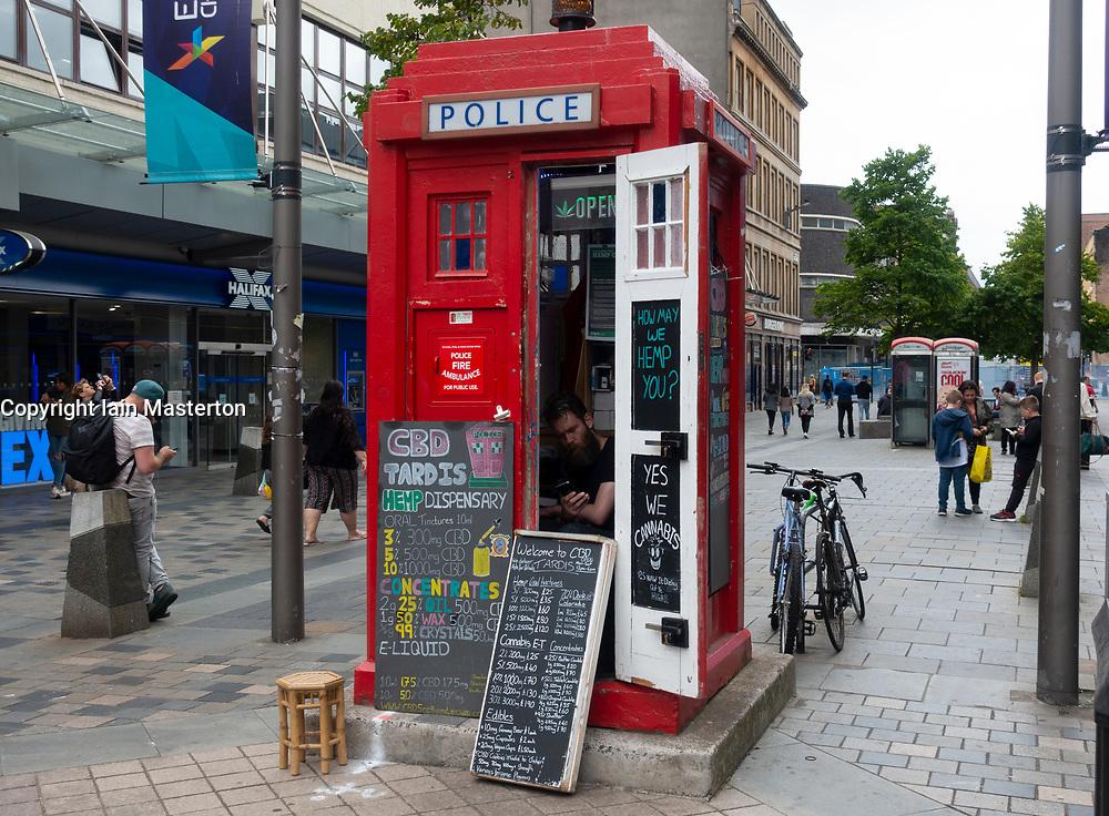 CBD Tardis Hemp Dispensary in old police box on Sauchiehall Street in Glasgow, Scotland, UK