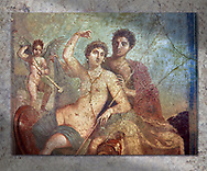 Roman fresco wall painting of the divine lovers Venus and Mars, from Pompeii, House of Venus and Mars (VII 9 47), inv 9248, Naples National Museum.  Wall art print by Photographer Paul E Williams If you prefer visit our World Gallery Print Shop To buy a selection of our prints and framed prints desptached  with a 30-day money-back guarantee and is dispatched from 16 high quality photo art printers based around the world. ( not all photos in this archive are available in this shop) https://funkystock.photoshelter.com/p/world-print-gallery .<br /> <br /> USEFUL LINKS:<br /> Visit our other HISTORIC AND ANCIENT ART COLLECTIONS for more photos to buy as wall art prints  https://funkystock.photoshelter.com/gallery-collection/Ancient-Historic-Art-Photo-Wall-Art-Prints-by-Photographer-Paul-E-Williams/C00002uapXzaCx7Y