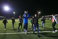 20 February 2017 - The FA Cup - (5th Round) - Sutton United v Arsenal - Sutton United reserve goalkeeper Wayne Shaw applauds after the match flanked by fans - Photo: Marc Atkins / Offside.