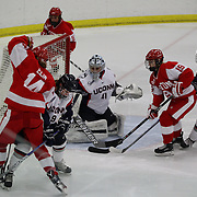 A goal mouth scramble during the UConn Vs Boston University, Women's Ice Hockey game at Mark Edward Freitas Ice Forum, Storrs, Connecticut, USA. 5th December 2015. Photo Tim Clayton