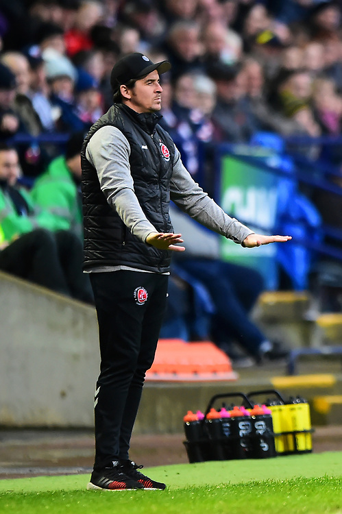 Fleetwood Town manager Joey Barton gestures<br /> <br /> Photographer Richard Martin-Roberts/CameraSport<br /> <br /> The EFL Sky Bet League One - Bolton Wanderers v Fleetwood Town - Saturday 2nd November 2019 - University of Bolton Stadium - Bolton<br /> <br /> World Copyright © 2019 CameraSport. All rights reserved. 43 Linden Ave. Countesthorpe. Leicester. England. LE8 5PG - Tel: +44 (0) 116 277 4147 - admin@camerasport.com - www.camerasport.com