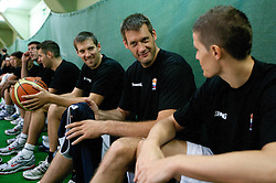 Beno Udrih, Goran Jaodnik and Jaka Lakovic at practice session of Slovenia basketball team on media day on July 16, 2010 at Rogla sports center, Slovenia. (Photo by Vid Ponikvar / Sportida)