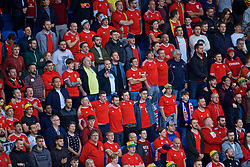 CARDIFF, WALES - Friday, September 6, 2019: Wales supporters sing the national anthem during the UEFA Euro 2020 Qualifying Group E match between Wales and Azerbaijan at the Cardiff City Stadium. (Pic by Paul Greenwood/Propaganda)