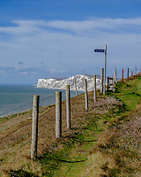 Early morning exercise along the coastal path at Compton Bay on the Isle of Wight