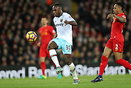 Michail Antonio of West Ham United scoring during the Premier League match at Anfield Stadium, Liverpool. Picture date: December 11th, 2016.Photo credit should read: Lynne Cameron/Sportimage