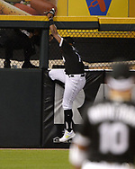 CHICAGO - APRIL 26:  Eloy Jimenez #74 of the Chicago White Sox suffers a high ankle strain while attempting to catch the baseball against the Detroit Tigers on April 26, 2019 at Guaranteed Rate Field in Chicago, Illinois.  (Photo by Ron Vesely)  Subject:   Eloy Jimenez