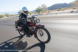 Doug Jones riding his 1914 Indian Model 260 Standard up the steep mountain pass just out of Palm Desert on the Palms to Pines Scenic Byway on the last day of the Motorcycle Cannonball Race of the Century. Stage-15 ride from Palm Desert, CA to Carlsbad, CA. USA. Sunday September 25, 2016. Photography ©2016 Michael Lichter.
