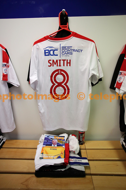 Crawley's Captain Jimmy Smith  shirt in the dressing room during the Sky Bet League 2 match between Mansfield Town and Crawley Town at the One Call Stadium in Mansfield. November 19, 2016.<br /> James Boardman / Telephoto Images<br /> +44 7967 642437