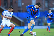 MJ Williams turns with the ball during the The FA Cup 2nd round match between Rochdale and Portsmouth at Spotland, Rochdale, England on 2 December 2018.