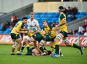 Australia scrum-half James Tuttle throws a pass to No.8 Maclean Jones during the World Rugby U20 Championship  match England U20 -V- Australia U20 at The AJ Bell Stadium, Salford, Greater Manchester, England on June  15  2016, (Steve Flynn/Image of Sport)