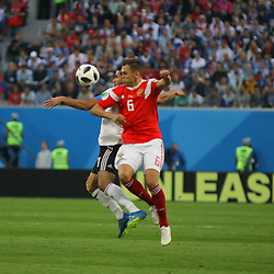 June 19, 2018 - St. Petersburg, Russia - June 19, 2018, Russia, St. Petersburg, FIFA World Cup 2018, First round, Group A, Second round, Russia - Egypt at the St Petersburg stadium. Player of the national team Denis Cheryshev. (Credit Image: © Russian Look via ZUMA Wire)