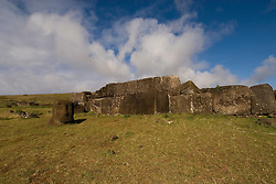 Chile, Easter Island: Platforms at site Ahu Vinapu showing two stages of stone construction, one more primitive and the latter more exquisite, possibly influenced by the Incas..Photo #: ch311-700.Photo copyright Lee Foster www.fostertravel.com lee@fostertravel.com 510-549-2202