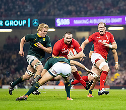 Ken Owens of Wales lines up Handre Pollard of South Africa<br /> <br /> Photographer Simon King/Replay Images<br /> <br /> Under Armour Series - Wales v South Africa - Saturday 24th November 2018 - Principality Stadium - Cardiff<br /> <br /> World Copyright © Replay Images . All rights reserved. info@replayimages.co.uk - http://replayimages.co.uk