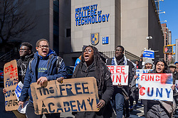 March 23, 2019 - New York, New York, United States - The University Student Senate (USS) of the City University of New York (CUNY), students, faculty, staff, community partners, concerned New Yorkers, and elected officials held a rally and a press conference outside the City Hall gates on March 23, 2019, calling on the state to invest in CUNY in their final budget for the fiscal year. The rally was followed by a march across the Brooklyn Bridge, culminating at the steps of Brooklyn Borough Hall. (Credit Image: © Erik Mcgregor/Pacific Press via ZUMA Wire)