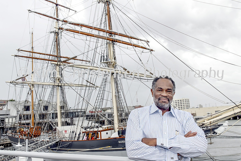 Raymond Lewis, 61, is the new board president of Galveston Historical Foundation poses in front of the Elissa. During his one-year term, he would like to see more funding to maintain Elissa.