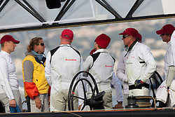 Nice, France, November 15th 2009. Louis Vuitton Trophy  Nice (7-22 November 2009) © Sander van der Borch / team Artemis. Round robin 2. The umpire explains to the Artemis after guard the penalty they got for taking to close to All4One.
