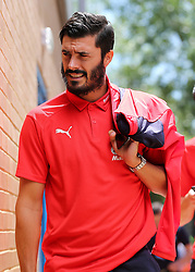 """Crystal Palaces James Tomkins arrives at Madejski Stadium during the pre-season friendly match at the Madejski Stadium, Reading. PRESS ASSOCIATION Photo. Picture date: Saturday July 28, 2018. See PA story SOCCER Reading. Photo credit should read: Mark Kerton/PA Wire. RESTRICTIONS: EDITORIAL USE ONLY No use with unauthorised audio, video, data, fixture lists, club/league logos or """"live"""" services. Online in-match use limited to 75 images, no video emulation. No use in betting, games or single club/league/player publications."""