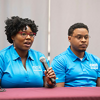 Engineering representatives from Honeywell Alta Bailey, left, and Grant Lewis close out a soft skills event sponsored by NTU's Engineering Club with a question and answer session Wednesday, Nov. 13 in Crownpoint.