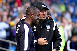 Huddersfield Town Manager Chris Powell and Cardiff City Manager Russell Slade - Mandatory byline: Robbie Stephenson/JMP - 07966386802 - 12/09/2015 - FOOTBALL - Cardiff City Stadium -Cardiff,Wales - Cardiff City v Huddersfield Town - Sky Bet Championship