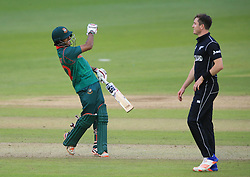 Bangladesh's Mosaddek Hossain celebrates hitting the winning runs over New Zealand during the ICC Champions Trophy, Group A match at Sophia Gardens, Cardiff.