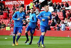 Former Manchester United players Wayne Rooney and Morgan Schneiderlin of Everton warm up on their return to Old Trafford - Mandatory by-line: Matt McNulty/JMP - 17/09/2017 - FOOTBALL - Old Trafford - Manchester, England - Manchester United v Everton - Premier League