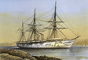 'HMS ''Orontes'' Royal Navy troopship,  built by Cammell Laird at Birkenhead, commissioned 1863 and sold in 1893. Carried back to England the body of Louis Napoleon, Prince Imperial killed in the Zulu War.'