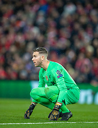 LIVERPOOL, ENGLAND - Wednesday, March 11, 2020: Liverpool's goalkeeper Adrián San Miguel del Castillo during the UEFA Champions League Round of 16 2nd Leg match between Liverpool FC and Club Atlético de Madrid at Anfield. (Pic by David Rawcliffe/Propaganda)