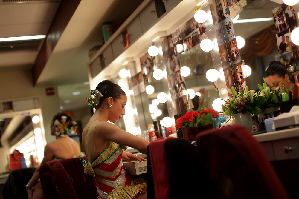 """Katie Hamrah, 23, of Middlesex, is pictured in the Radio City Music Hall dressing room in Manhattan before the opening performance of """"The Radio City Christmas Spectacular,"""" Friday, November 5, 2010. Hamrah and her friend Corinne Tighe, 26, left, of North Plainfield, are both performing as Rockettes. They have been dancing together since they were ages 3 and 6, and Tighe encouraged Hamrah to try out for the show. (Photo/Claudio Papapietro)"""