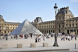 Concrete blocks have been installed to block vehicle access to the Louvre museum pedestrian zone so as to prevent a Nice or Barcelona inspired terror attack. Paris, France, August 22, 2017. Photo by Alain Apaydin/ABACAPRESS.COM  | 604101_001 Paris France