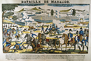 Bonparte, centre left, at the Battle of Marengo, 14 June 1800. French forces under Napoleon defeated Austrians.   Popular French hand-coloured woodcut.